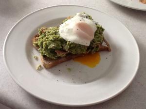 Lemon & Mint Broadbean Smash topped with an Egg